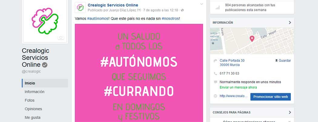 Ejemplo de uso de Hashtags en Socialmedia Crealogic